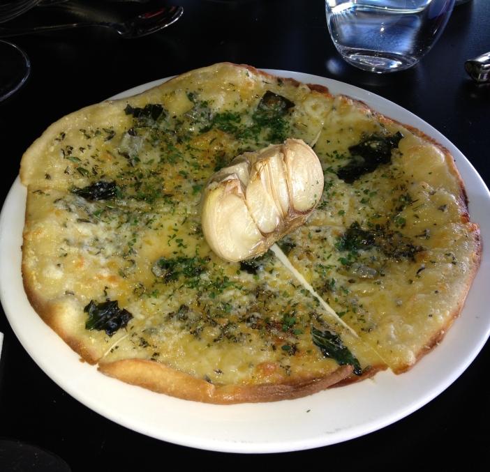 Sardinian gorgonzola garlic pizza & confit garlic