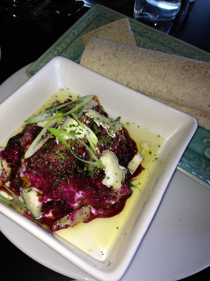 Whipped beetroot puree, goats cheese crumble, hazelnuts & za'atar yoghurt and mountain bread