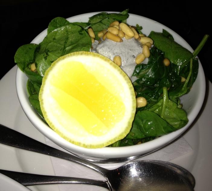 Wilted chard, lemon garlic tahini and crushed pine nuts