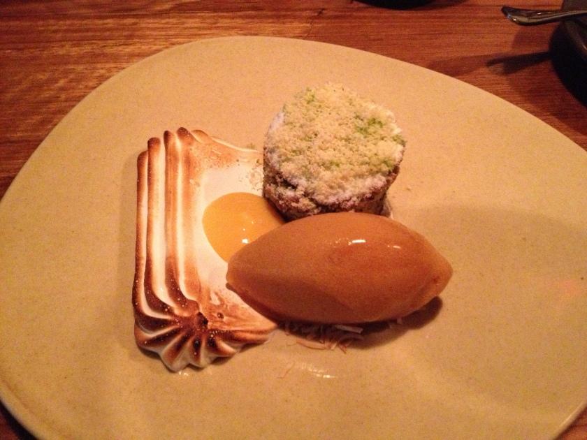 Frangipane - meringue, passionfruit curd, peach sorbet